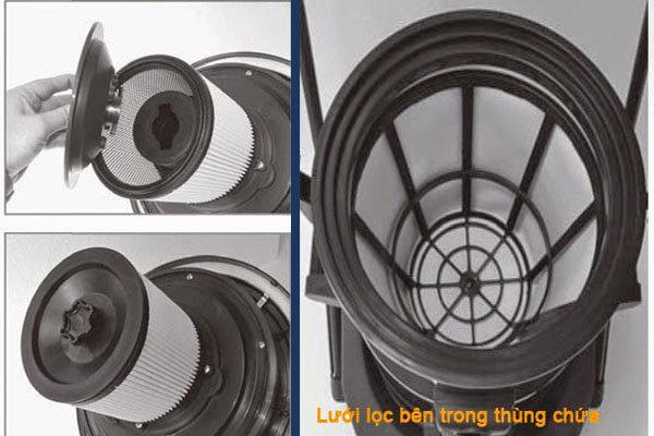 lưới lọc và thùng chứa máy hút bụi